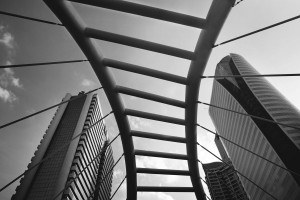 Grey scale architectural business building