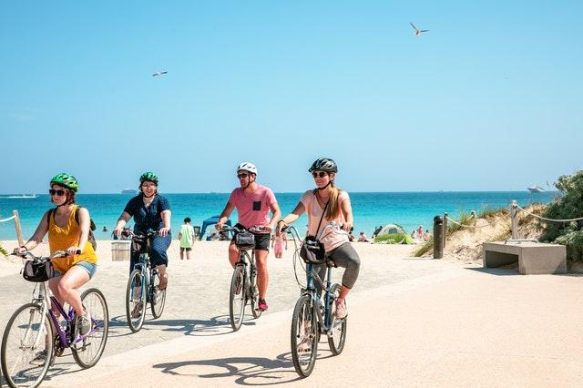 Miami Beach People Riding Bike