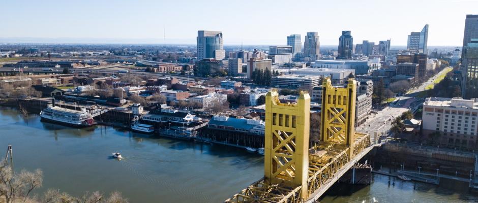 Sacramento Bridge Aerial View